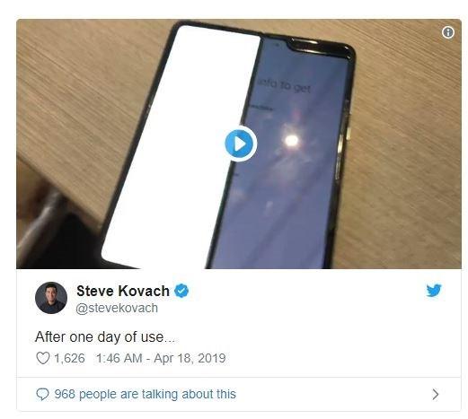 2000美元的三星Galaxy Fold折叠手机,两天就坏了_屏幕