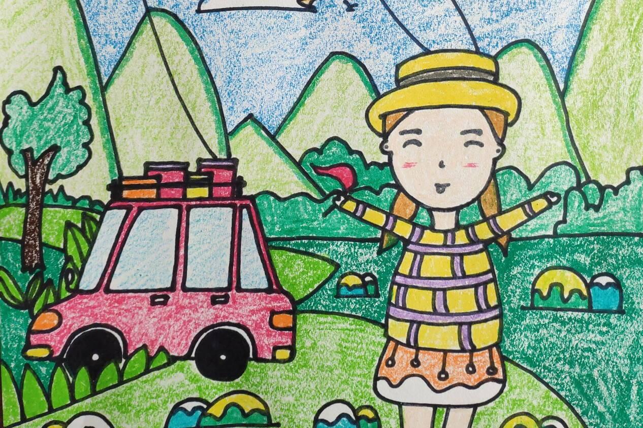 创意儿童画课件:春天主题创意儿童画,五一假期一起出游放风筝!