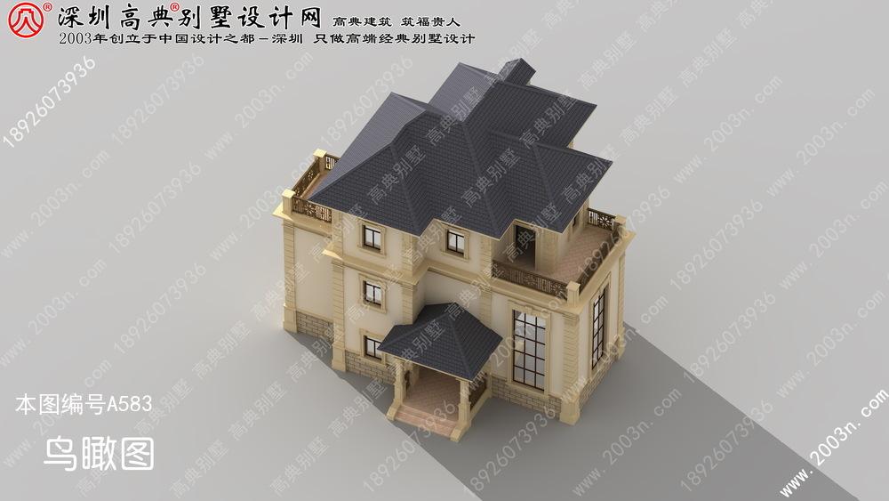 此别墅设计案例:   a583号别墅设计图纸及效果图介绍:   占地规格:门面16.1米x深度12.3米   农村三层半楼房设计图, 新农村三层住宅设计图, 农村自建房设计图