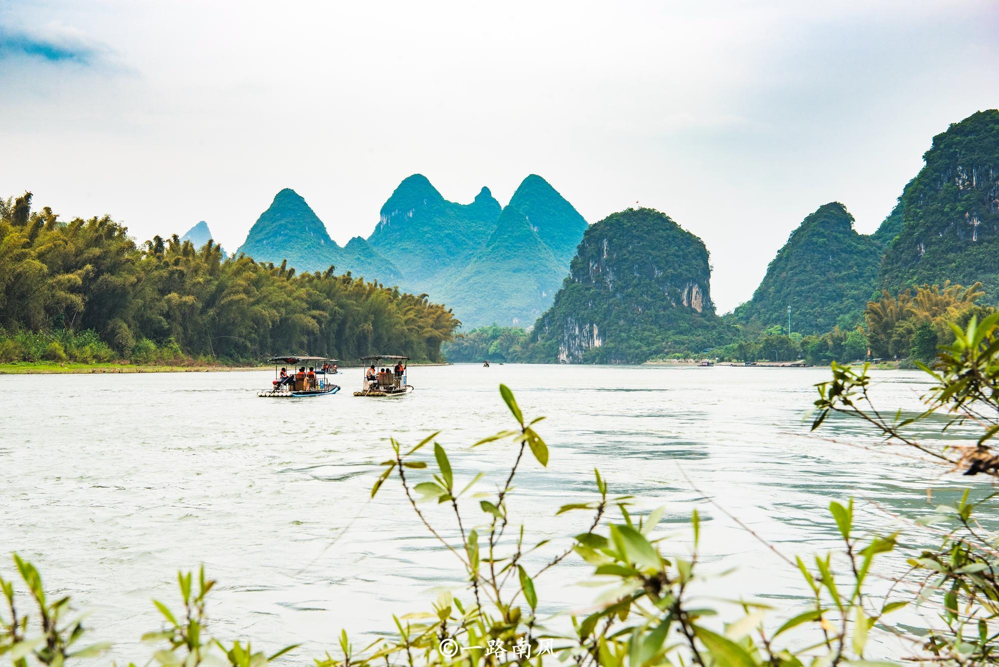 阳朔大桥附近看风光,桂林山水不用钱还惹人沉醉!