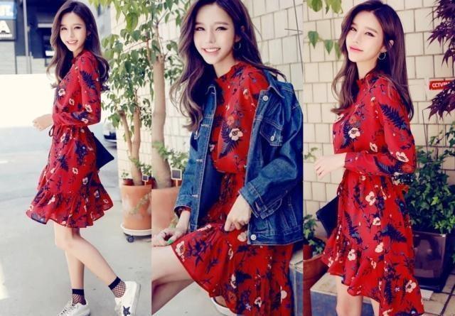 想美有气质就该这样穿!针织衫搭配连衣裙优雅气质,穿出强大气场