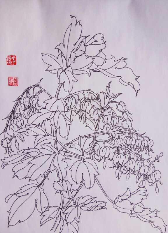 叶志军的钢笔画九百七十二——鱼儿牡丹(中性笔白描花卉练习)   九百七十三——鱼儿牡丹(中性笔白描花卉习作)