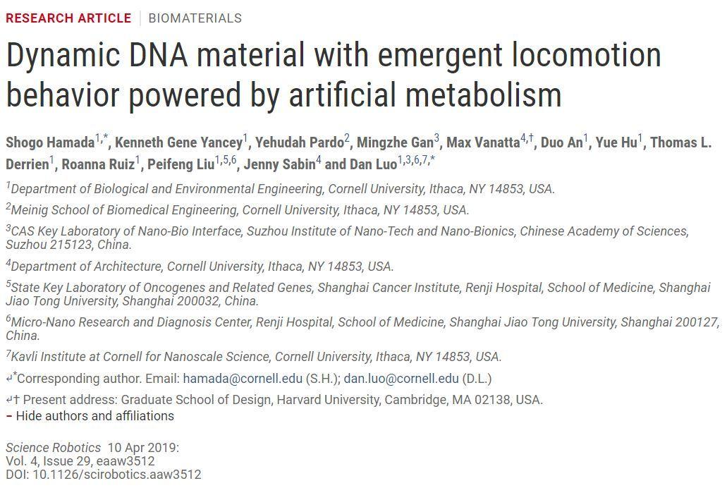 "CICC科普栏目|用DNA分子组装类生命""软机器人"""