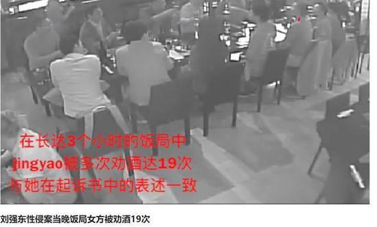 劉強東案第5段視頻曝光:3小時飯局女生被勸酒19次_女性
