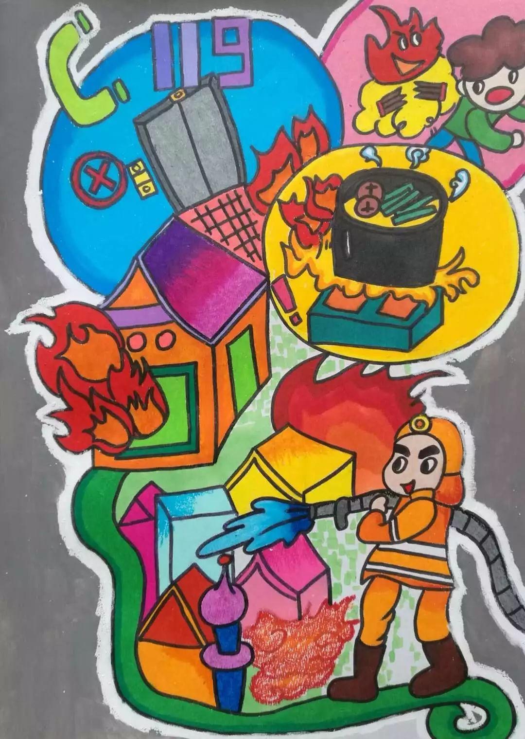 【小画家】快来欣赏吧!第三届儿童消防绘画作品展示(十五)