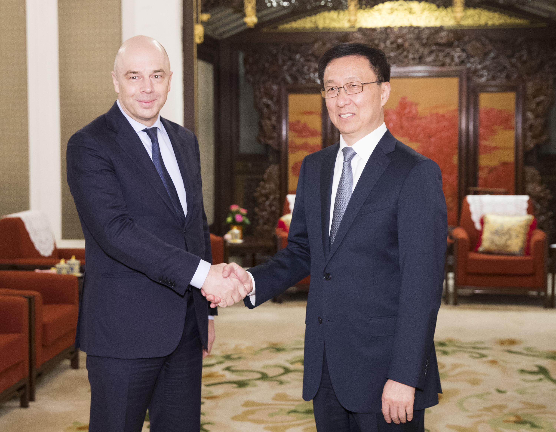 韩正会见俄罗斯第一副总理兼财政部长西卢安诺夫