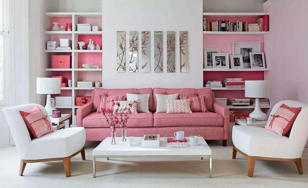 客厅这么温柔,全靠粉色来装点!
