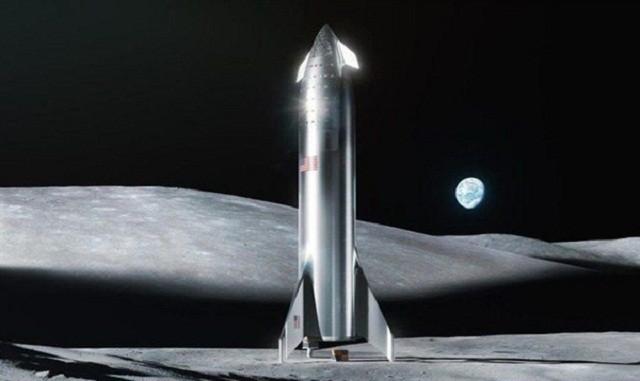 马斯克晒SpaceX星际飞船在月球渲染图