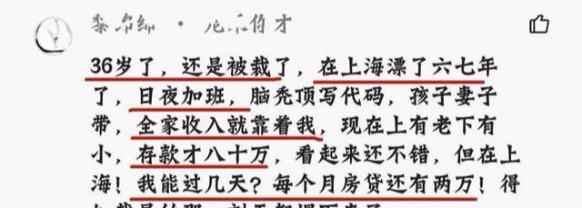 上海程序员哭诉: 36岁被裁员, 存款仅余80万, 感觉天塌了