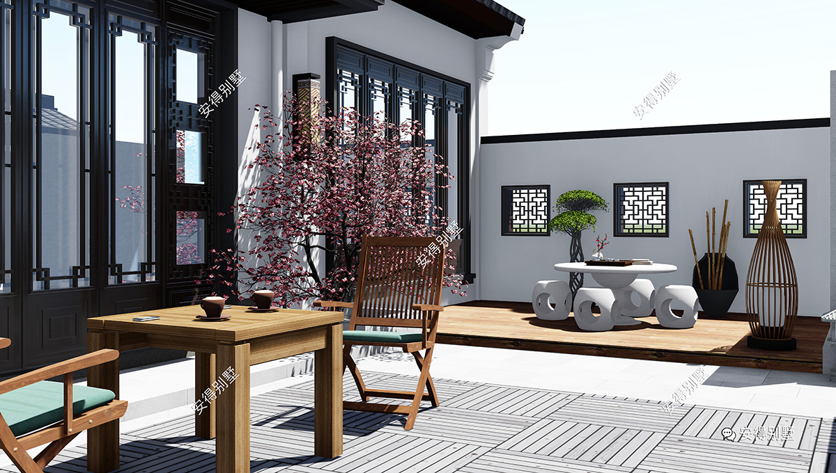 占地别墅也建四合院,1层新中式不大庭院,a别墅舒适城南别墅楼盘西安图片