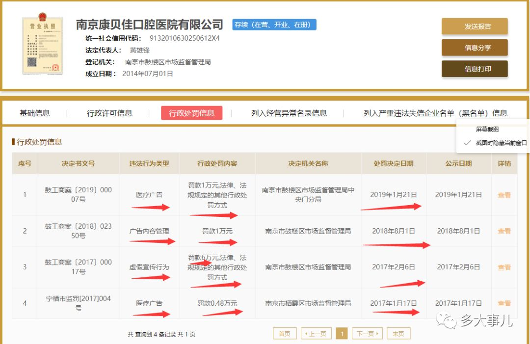 南京康贝佳口腔医院涉嫌传播违法广告 现已罚款多次!