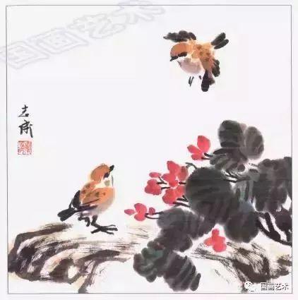 赭石调淡墨点头部,浓墨勾嘴 画翅 添尾羽,麻雀就是这么画