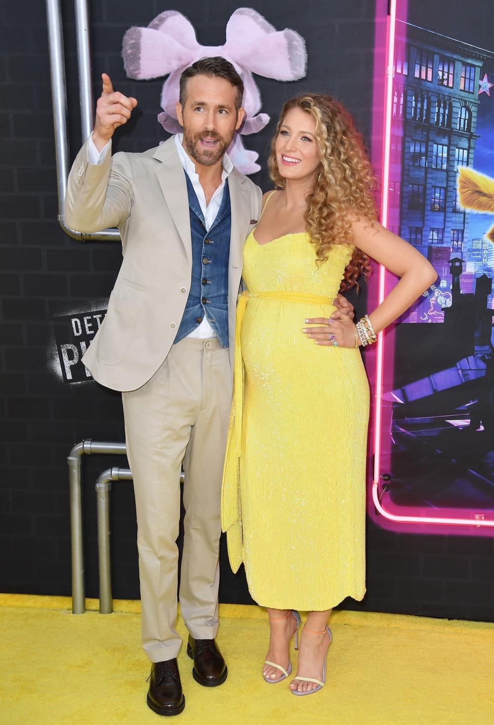 Blake Lively喜怀三胎,出席皮卡丘首映礼同款黄裙亮相