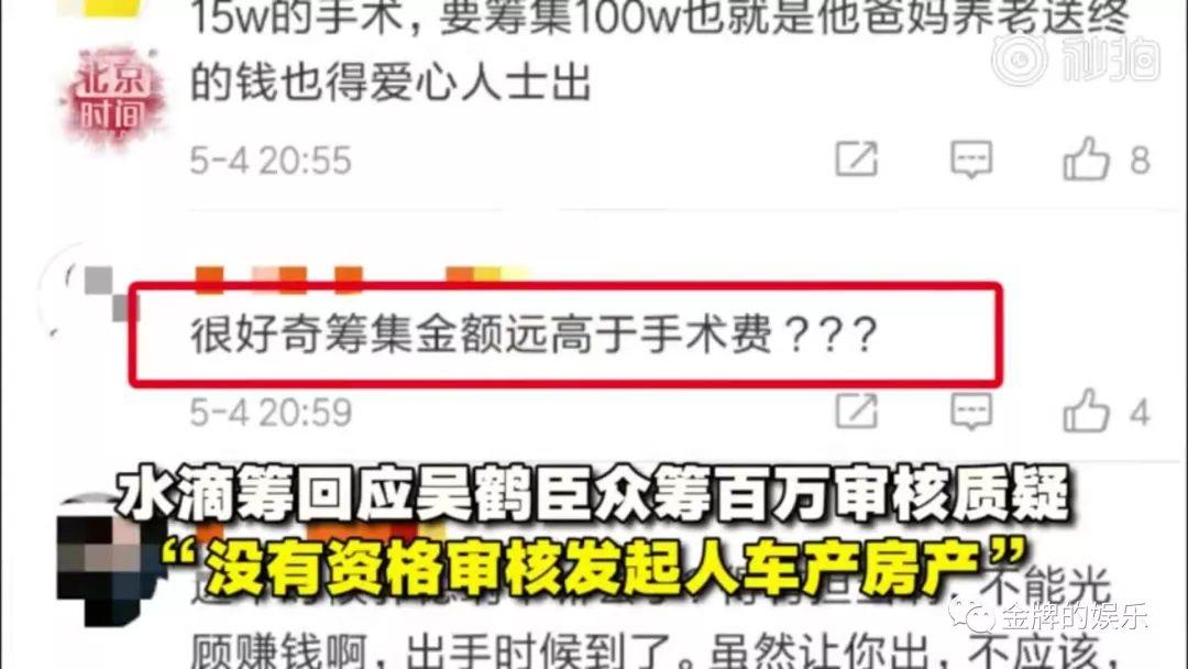 水滴筹回应吴鹤臣众筹百万审核质疑:没资格审核发起人车产房产!