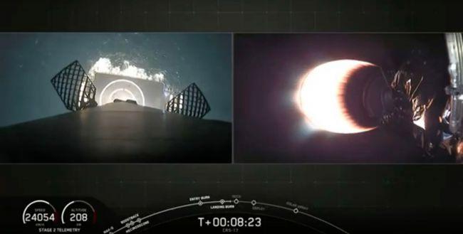 SpaceX载货龙飞船成功发射升空 预计明天到达国际空间站