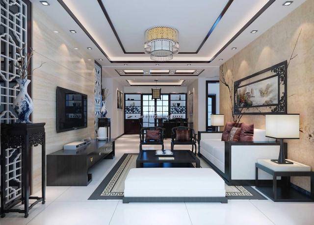 芜湖装修网四居室装修案例之5大风格客厅吊顶效果图