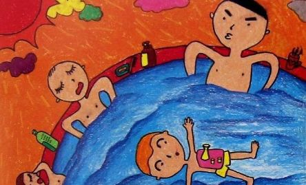儿童夏天图画作品一:荷叶上的小蜜蜂图片