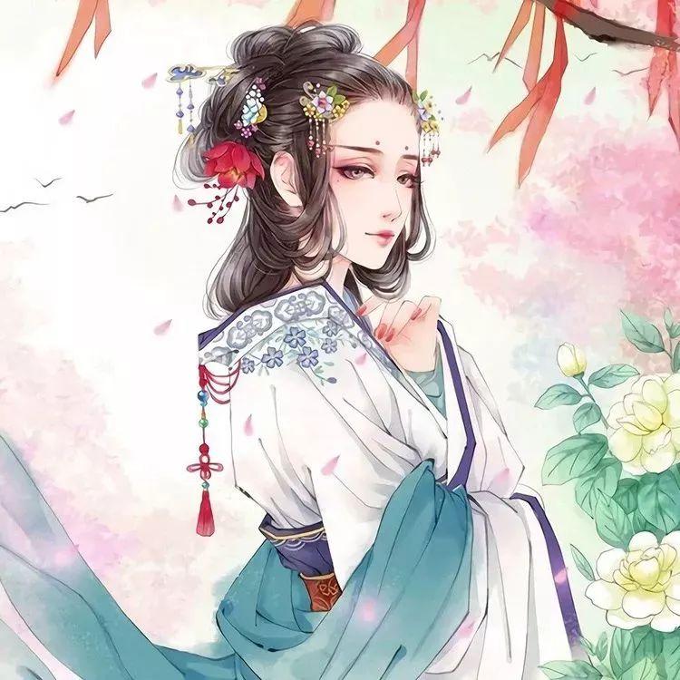 古代美女 水粉画 手绘 插画 壁纸 古装 古风图片