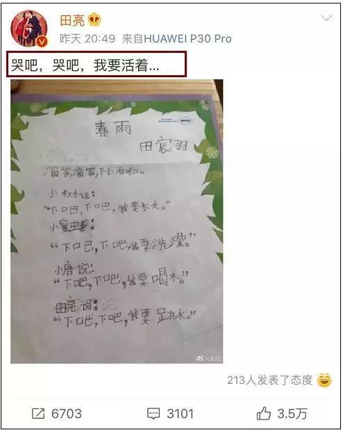 田亮儿子写了一首诗《春雨》,哈哈哈哈哈鬼才!网友:请全校背诵