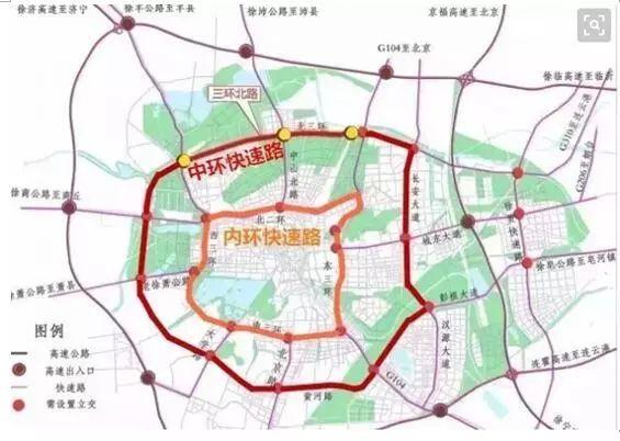 新的徐州总体规划图上,出现了西四环.