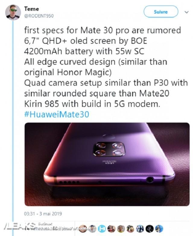 华为Mate 30 Pro再曝:曲面弧度高颜值