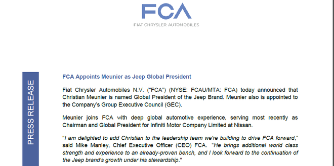 人事|菲亚特克莱斯勒任命慕克担任Jeep全球总裁