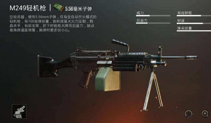 第一名M249 M249这把枪的无论是射速还是伤害都比M4要强得多,...