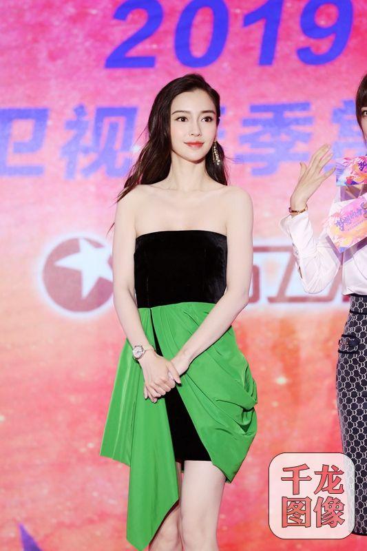 Angelababy表态东圆卫视招商会 靓丽绿裙为新做宣扬