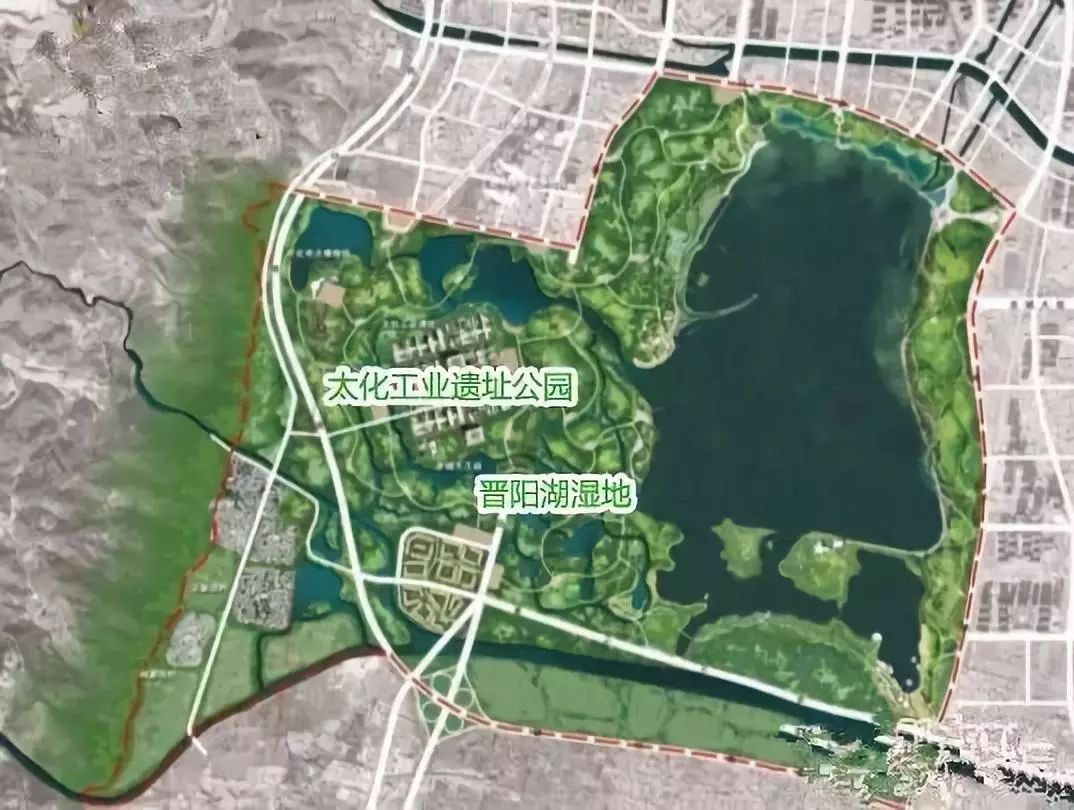 晋阳湖湿地公园规划图
