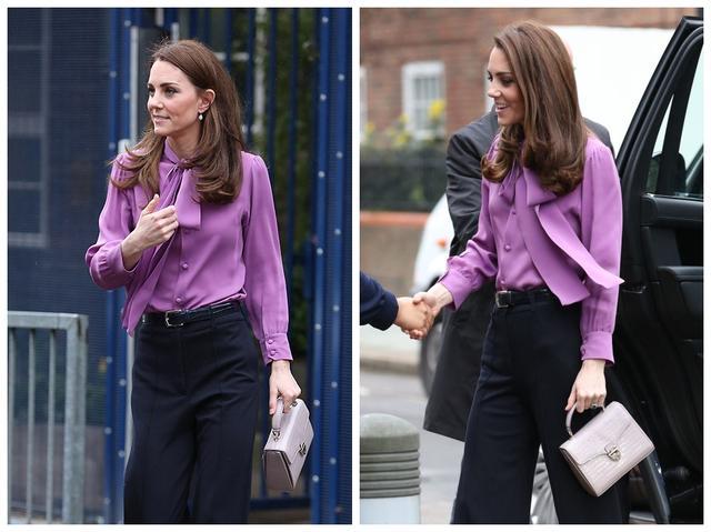 被凯特王妃惊艳到了,身穿紫色衬衫搭配黑色阔腿裤减龄时髦,真美
