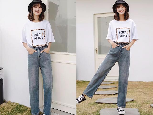 """2019年很流行穿""""牛仔闊腿褲"""",搭配這4件上衣,輕松顯腿圖片"""