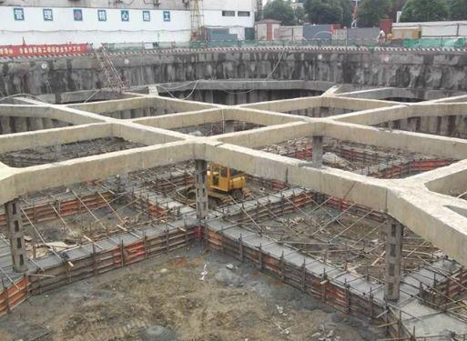 第三层土方开挖   仰视图   第二道支撑置模   第二道支撑砼浇筑图片