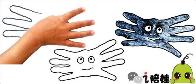 手指向外,手掌相对,一对相爱的亲吻鱼就诞生了   手指   最简单的就是画手指了,伸出两个手指就能画兔子,有了这些手的简笔画,妞也能在娃面前显摆了   故事画   娃把双手并在一起,中间空出的地方画上身体,就是一只翩翩飞舞的蝴蝶   妞也试试看,把两只手的