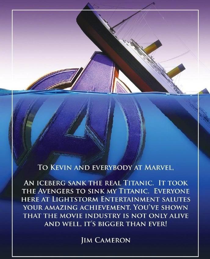 卡梅隆发文祝贺复联4:复仇者让我的《泰坦尼克号》沉没