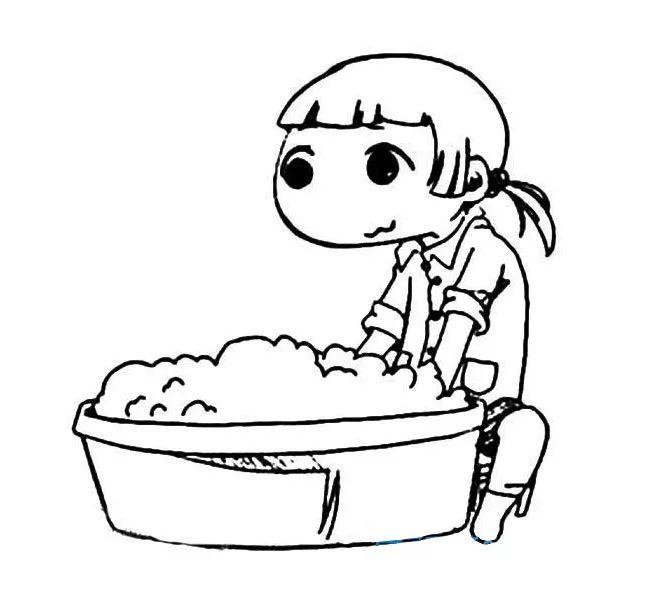 洗衣服的小女孩简笔画 洗衣服的小女孩简笔画步骤图片大全 素材之家