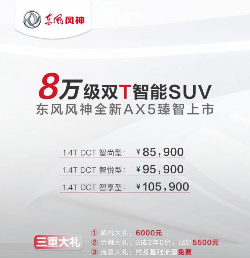 """8.59万起售东风风神""""双T智能SUV"""" AX5正式上市"""