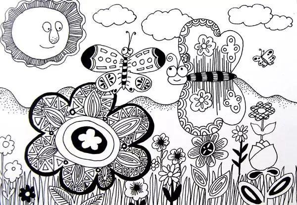 优秀黑白线描儿童画