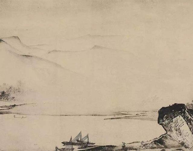 一张纸上只画一船一人,却成传世之作,放大10倍才知其中的奥妙
