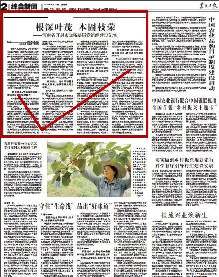 农业日报:根深叶茂  本固枝荣 —— 开封市加强基层党组织建设纪实