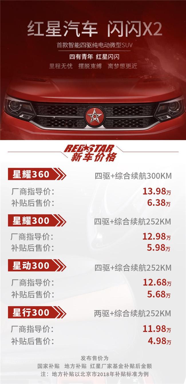 红星亮闪闪X2北京上市补贴后,价格从49800开始