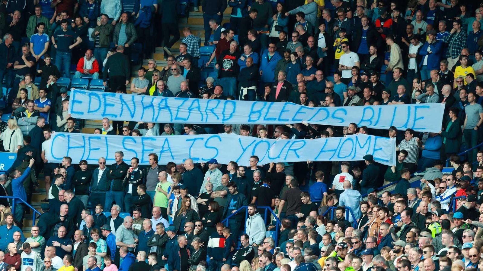 """""""蓝色是你的血,切尔西是你的家!""""——球迷试图说服阿扎尔留下"""