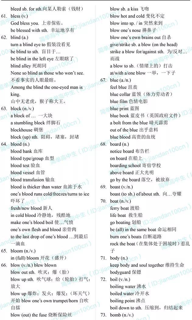 高考英语词组手册(A-Z精华版)