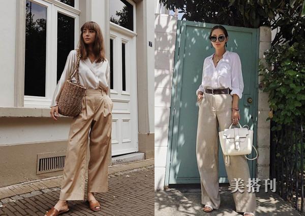 宽松衬衣和阔腿裤组合,都市轻时尚的气质穿搭,给你简约时髦造型