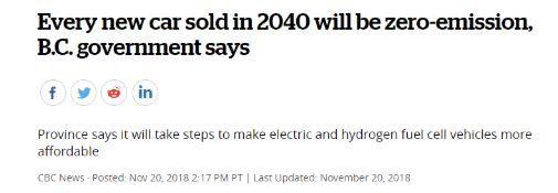 【BC省政府宣布】2040年禁止所有燃油车!现在补贴一万块!就问你要不要!