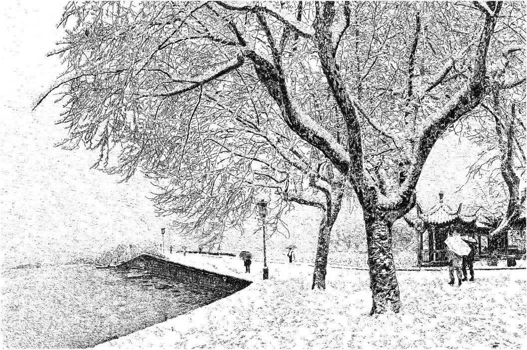 西湖守护者 张建庭先生钢笔画全球巡展 迪拜站