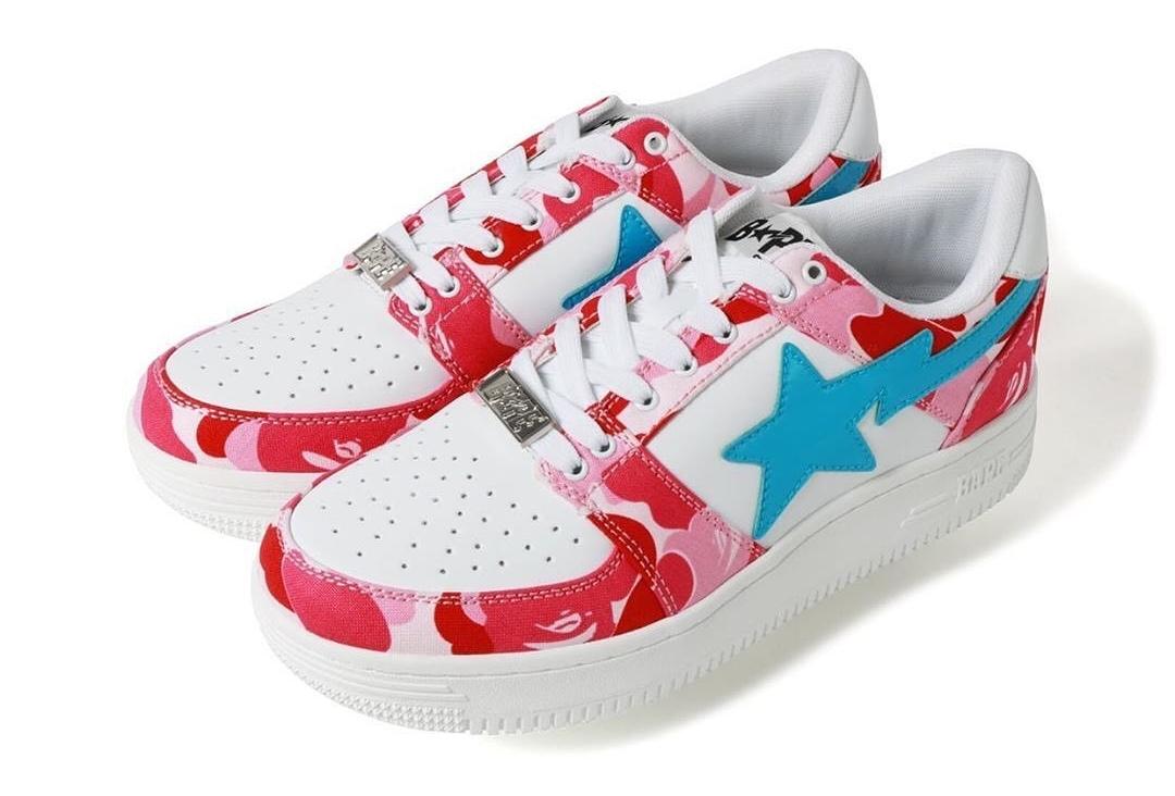 三色迷彩+对比色Sta logo!Bapesta球鞋新增三款配色!