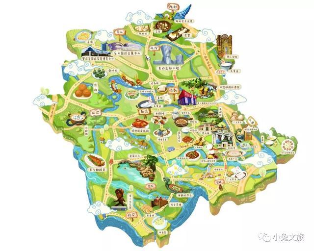 顺德美食旅游手绘地图 顺德特色 景点 美食 90后