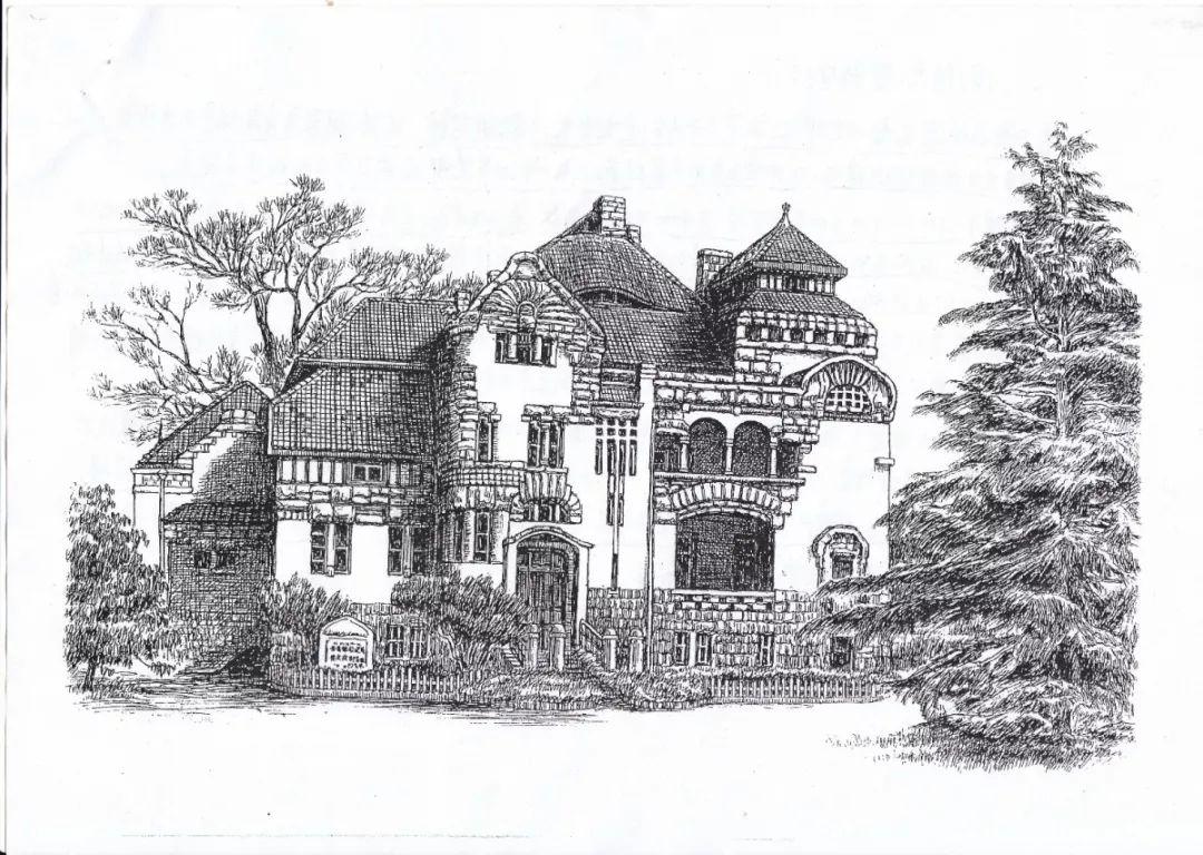 建筑钢笔画图片
