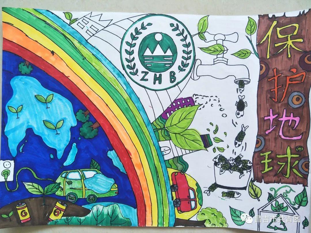 美工兴趣(2)班绘画作品《保护地球》_美篇