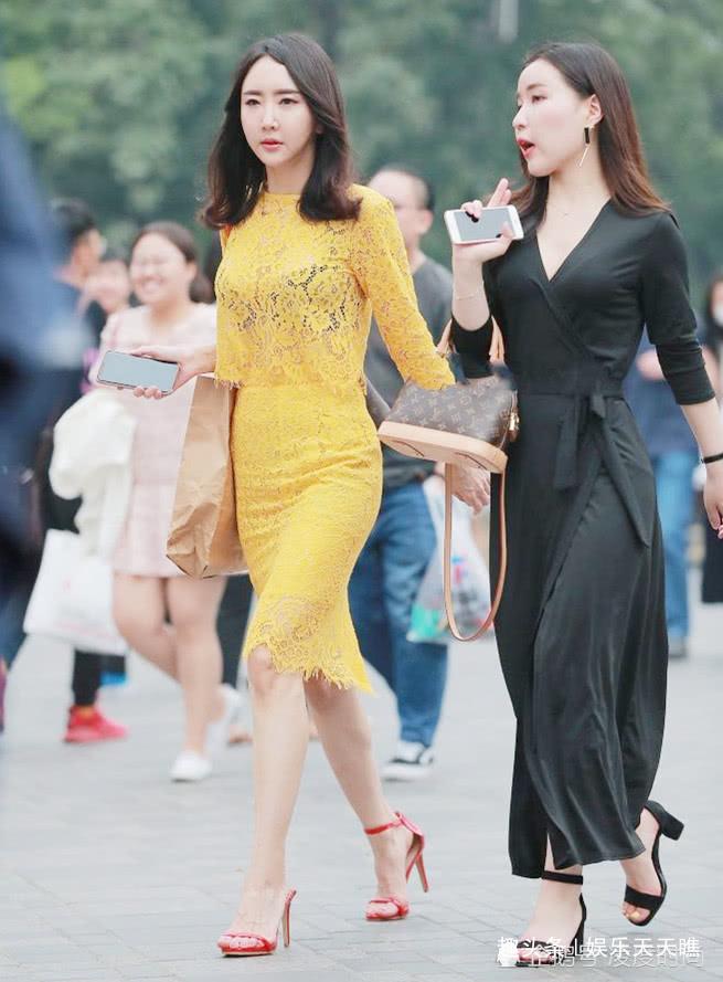 黄色蕾丝裙美女,高贵精致,展现异域情怀和优雅知性的气质